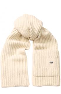Шерстяной шарф фактурной вязки Victoria Beckham