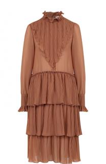 Платье-миди свободного кроя с оборками See by Chloé
