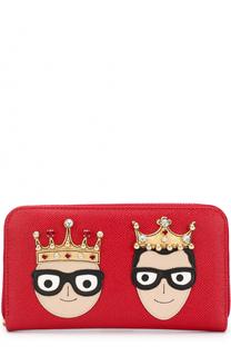 Кожаный кошелек на молнии с аппликацией Dolce & Gabbana