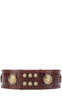 Кожаный ремень с металлическими заклепками Balmain