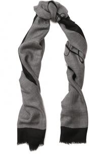 Кашемировый шарф с принтом и необработанным краем Burberry