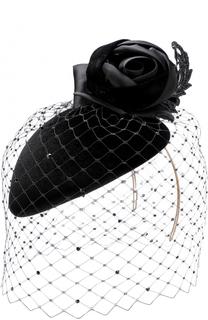 Фетровая шляпа с декоративной сеточкой и цветком Philip Treacy