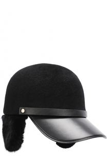 Фетровое кепи с кожаным козырьком и меховой отделкой Inverni