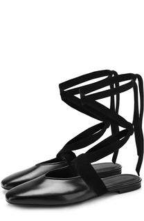Кожаные балетки на лентах J.W. Anderson