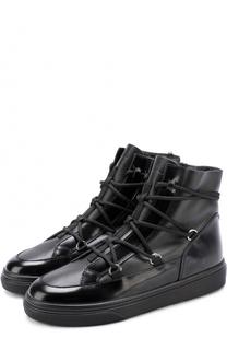 Высокие кожаные кеды на шнуровке Hogan