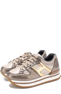 Кожаные кроссовки с металлизированной отделкой на толстой подошве Hogan