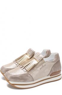 Кроссовки из металлизированной кожи с бахромой Hogan