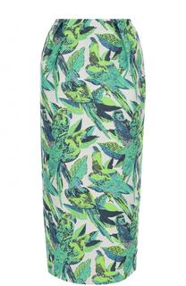 Хлопковая юбка-карандаш с принтом Vika Gazinskaya