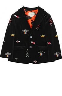 Бархатный пиджак с вышивкой Gucci