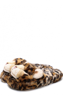 Шлепанцы из эко-меха с декоративной отделкой Dolce & Gabbana