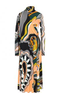 Приталенное платье-миди с воротником-стойкой Emilio Pucci
