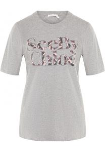 Хлопковая футболка с надписью See by Chloé