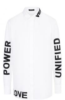 Хлопковая блуза с контрастными надписями Versace