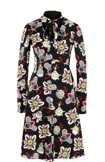 Приталенное платье-миди с принтом Valentino