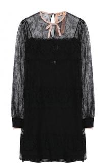 Кружевное мини-платье с длинным рукавом No. 21