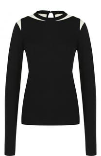 Шерстяной пуловер с прозрачными вставками Oscar de la Renta