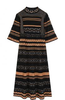 Приталенное платье-миди с воротником-стойкой M Missoni