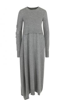 Кашемировое платье-миди с длинным рукавом Barrie