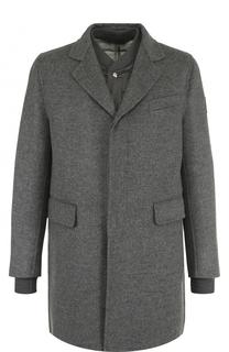 Однобортное шерстяное пальто с пуховой подстежкой Moncler
