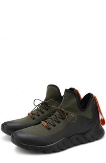 Текстильные кроссовки на шнуровке Fendi