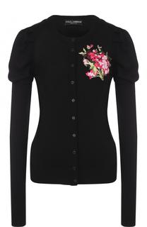 Шерстяной кардиган с цветочной вышивкой Dolce & Gabbana