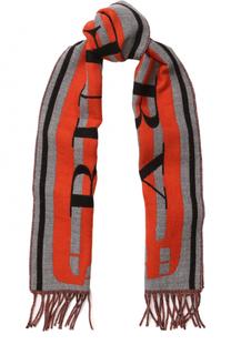 Шерстяной шарф с принтом и бахромой Burberry