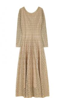 Приталенное вязаное платье-макси с длинным рукавом Alaia