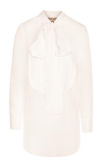 Удлиненная шелковая блуза с воротником аскот Burberry