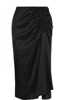 Шелковая юбка-миди с драпировкой Theory