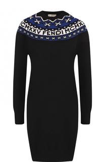 Мини-платье из смеси шерсти и кашемира Fendi