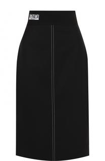 Однотонная юбка-миди с контрастной прострочкой Fendi