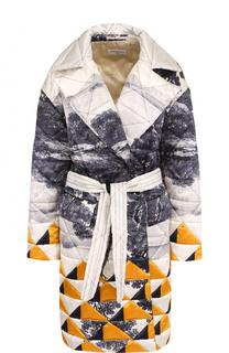 Пальто свободного кроя с принтом и поясом Dries Van Noten