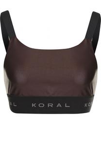 Кроп-топ с логотипом бренда Koral