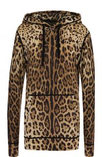 Кашемировый пуловер с капюшоном и леопардовым принтом Dolce & Gabbana