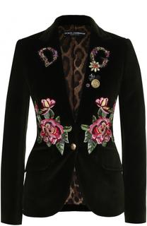 Приталенный бархатный жакет с контрастной вышивкой Dolce & Gabbana