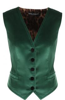Бархатный жилет с шелковой принтованной спинкой Dolce & Gabbana