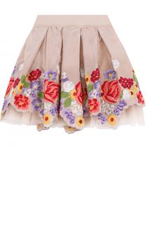 Многослойная мини-юбка с вышивкой и фигурным подолом Monnalisa