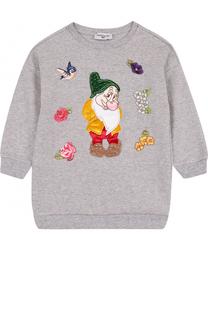 Хлопковое мини-платье с аппликациями и стразами Monnalisa