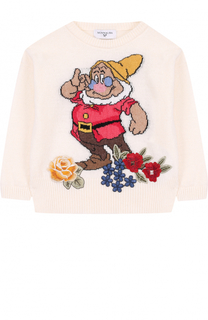 Пуловер с принтом и цветочной аппликацией Monnalisa