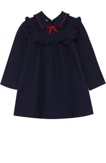 Хлопковое мини-платье с оборкой с бантом Gucci