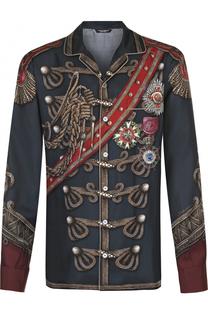 Шелковая рубашка с принтом Dolce & Gabbana