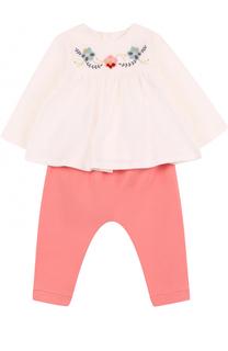 Хлопковый комплект из брюк и блузы с вышивкой Chloé