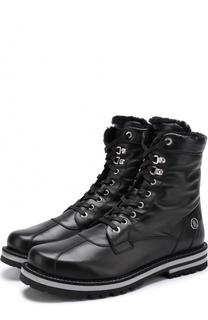 Высокие кожаные ботинки на шнуровке с внутренней меховой отделкой Bogner