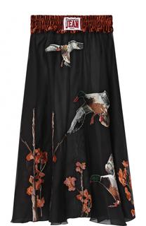 Шелковая юбка-миди с принтом с эластичным поясом Stella Jean