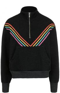 Хлопковый свитер с воротником на молнии и принтом Wildfox