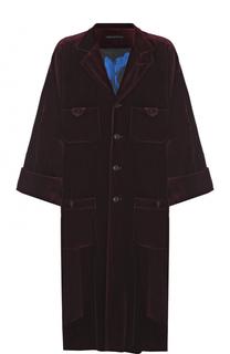 Однобортное хлопковое пальто свободного кроя Yohji Yamamoto