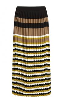 Шерстяная плиссированная юбка-миди в полоску Marni