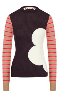 Облегающий шерстяной пуловер с круглым вырезом Marni