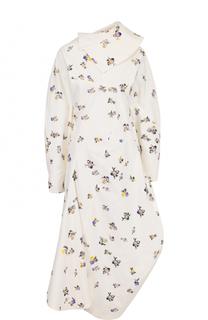 Приталенное платье-миди с открытой спиной и принтом Acne Studios