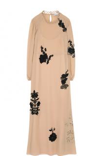Платье-миди с завышенной талией и круглым вырезом REDVALENTINO